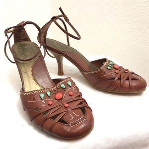 Chinese Laundry-Brown Jeweled Boho Wrap Heels-7.5